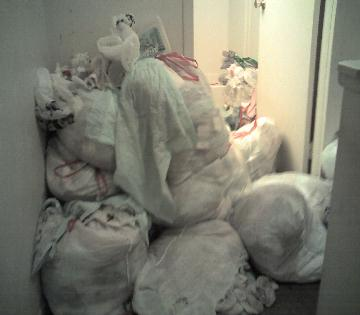 Gross filth apartment  -  pile of soiled diapers