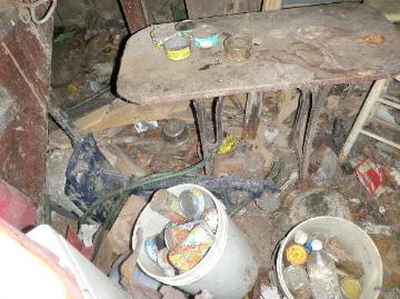 Animal feces & urine piled thick on floor & objects in hoarder's basement