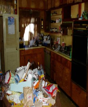 Gross filth, pack rat, hoarding kitchen trash