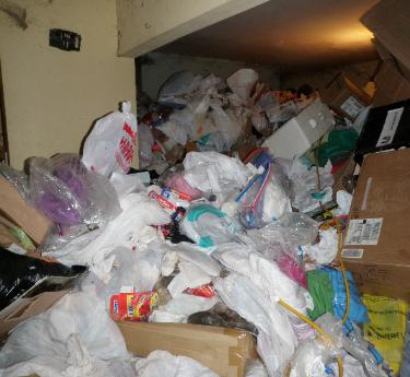 Hoarded condo, piled 6 feet deep throughout